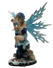 Winter Fairy with Hare Companion Statuette Figurine Ornament Sculpture Figure